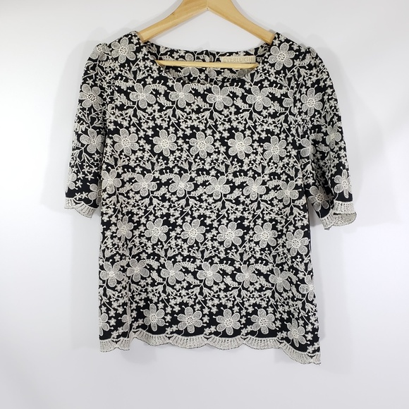 everleigh Tops - Everleigh // Floral Embroidered Scalloped Trim Top